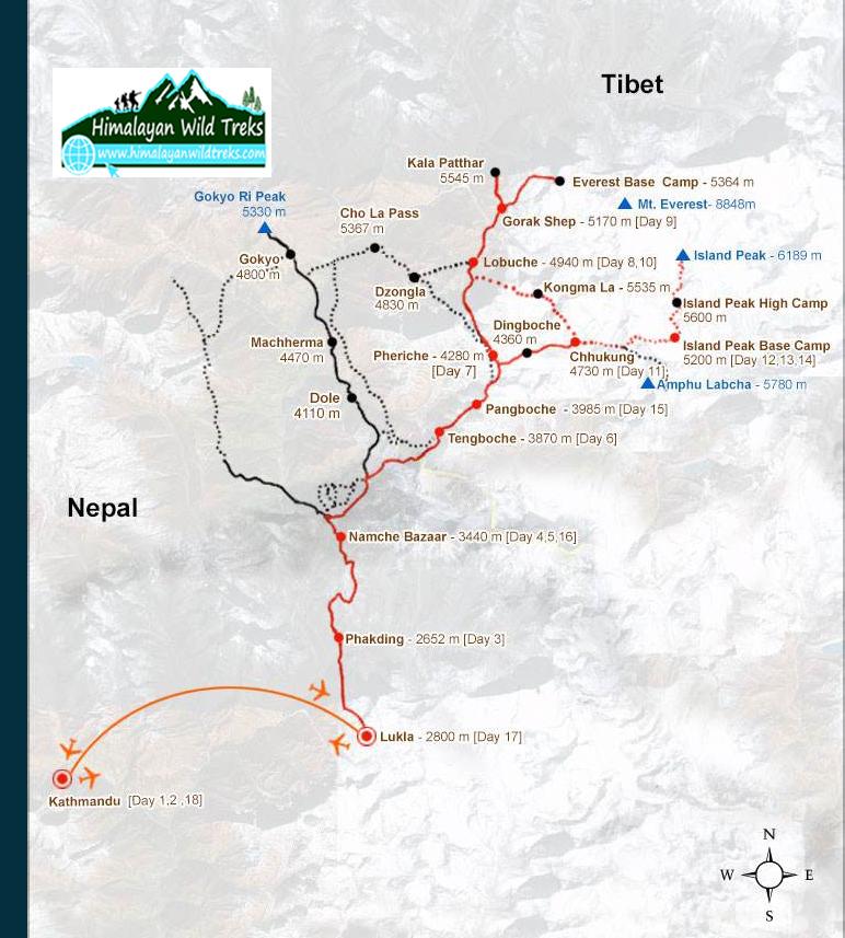 Island peak climbing cost, permit cost, google map and ...